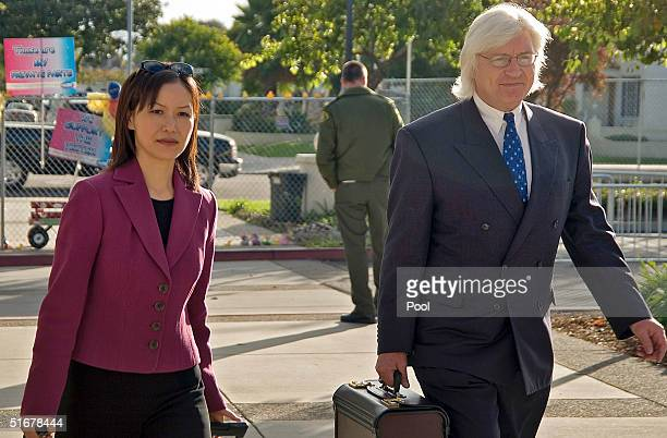 Defense attorneys Susan C. Yu and Thomas A. Mesereau, Jr. Arrive for a pre-trial hearing in the Michael Jackson molestation case at the Santa Barbara...