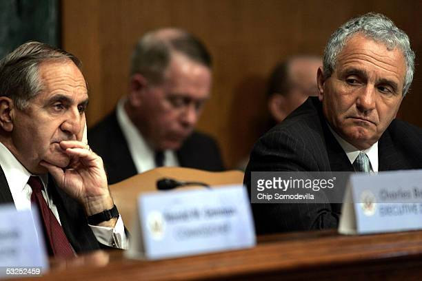 Defense Base Realignment and Closure Commission Executive Director Charles Battaglia and Chairman Anthony J Principi question witnesses during the...