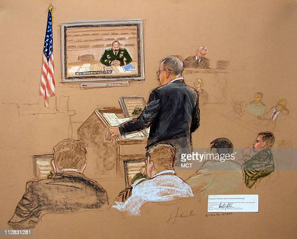 Defense Counsel Barry Coburn questions Lt Col W during the military commissions hearing of Omar Khadr Saturday May 1 Guantanamo Bay