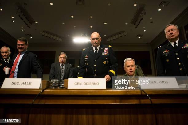Defense department officials Joint Chiefs of Staff Chairman Gen. Martin Dempsey, Deputy Defense Secretary Ashton Carter, Defense Undersecretary...