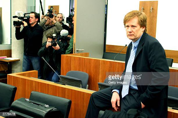 Defense Lawyer Harald Ermel is seen at the trial of Computer technician Armin Meiwes aged 42 at the prelude to Germany's first cannabalism trial held...