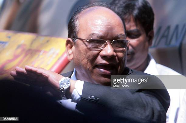Defense lawyer KP Pawar waves arrives at the the special court set up for the trial of Mohammad Ajmal Kasab the lone surviving gunman of the Mumbai...