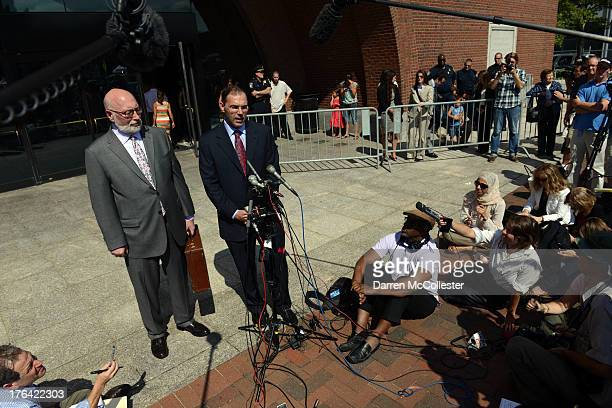 Defense lawyers JW Carney and Hank Brennan speak to reporters outside the John Joseph Moakley United States Courthouse following a guilty verdict...