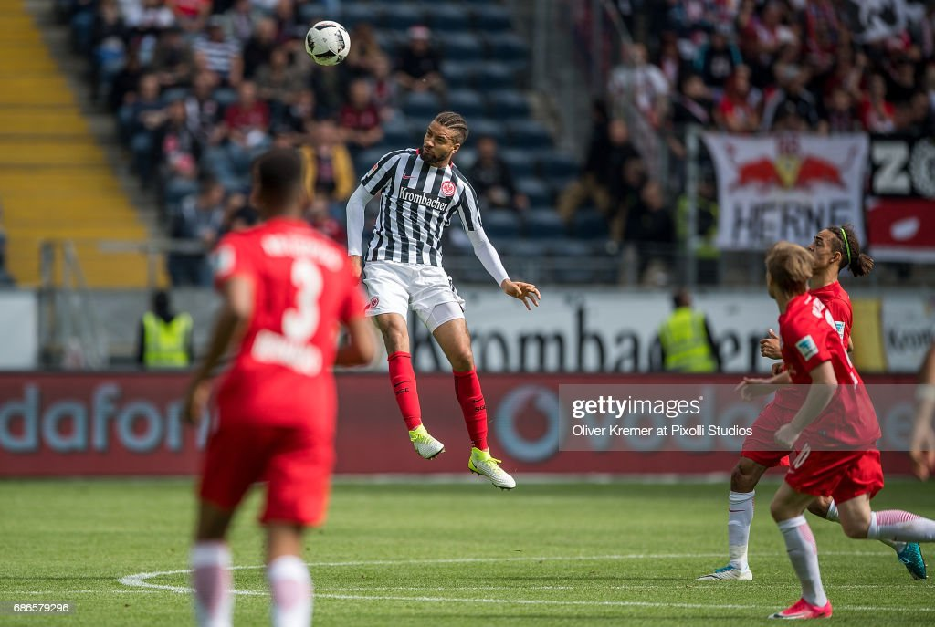 Defense Michael Hector of (15) Eintracht Frankfurt at a headball at the Commerzbank Arena during the 1. Bundesliga match between Eintracht Frankfurt and RB Leipzig on May 20, 2017 in Frankfurt, Germany