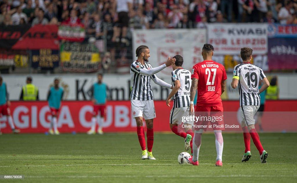 Defense Michael Hector of (15) Eintracht Frankfurt congratulating Defense Jesus Vallejo (5) of Eintracht Frankfurt on his goal, scoring the 1:2 at the Commerzbank Arena during the 1. Bundesliga match between Eintracht Frankfurt and RB Leipzig on May 20, 2017 in Frankfurt, Germany