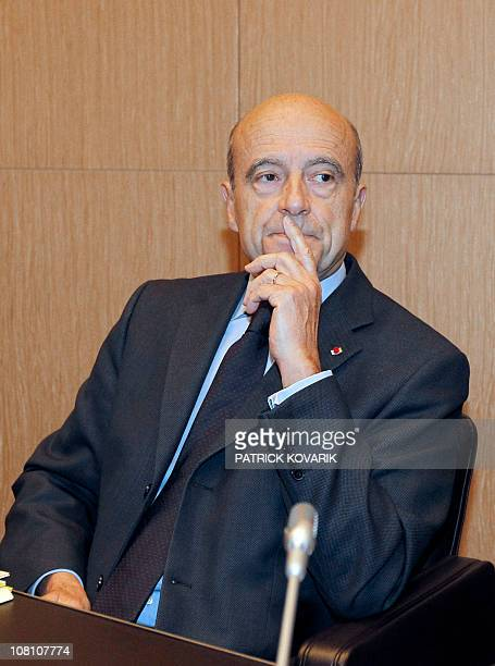 Defense minister Alain Juppe waits at the French National Assembly in Paris on January 18 2011 before a hearing in front of the deputies' Foreign...