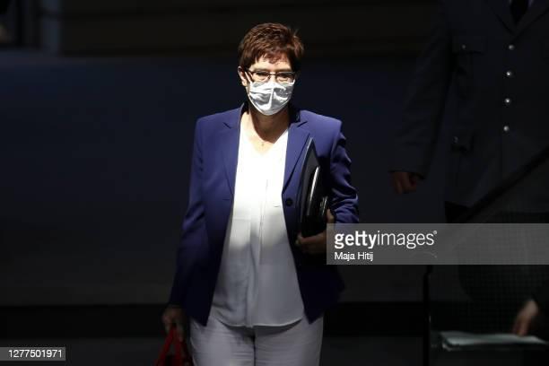 Defense Minister Annegret KrampKarrenbauer arrives at the Bundestag on September 30 2020 in Reichstag building in Berlin Germany