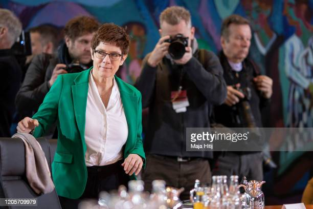 Defense Minister Annegret KrampKarrenbauer arrives for the weekly government cabinet meeting on February 12 2020 in Berlin Germany