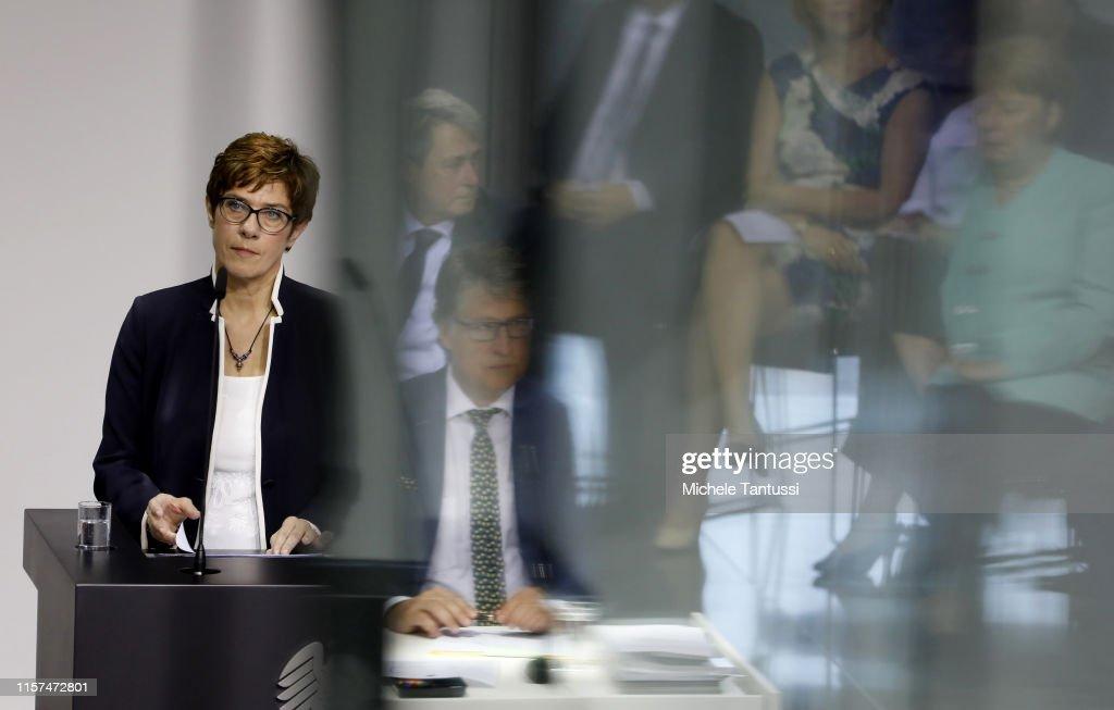 Annegret Kramp-Karrenbauer Sworn-In As New Defense Minister : News Photo