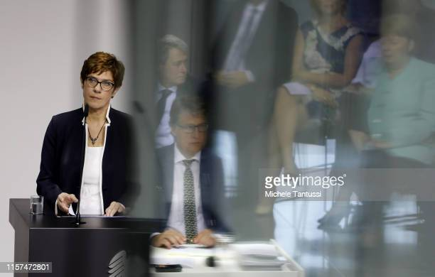 Defense Minister Annegret KrampKarrenbauer speaks after the SwornIn ceremony of the new defence minister in the PaulLoebe Haus at the German...