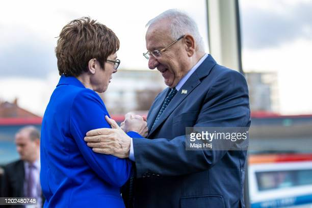 Defense Minister Annegret KrampKarrenbauer welcomes Reuven Rivlin President of Israel as he arrives for a visit on January 28 2020 in Berlin Germany