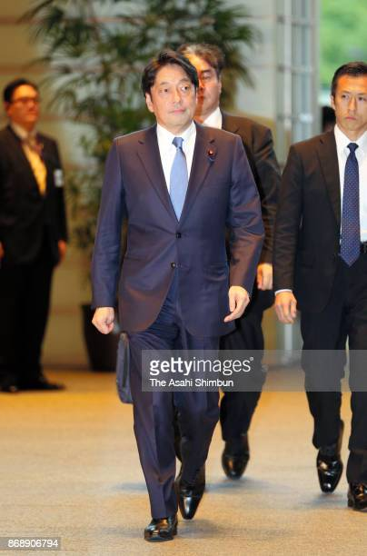 Defense Minister Itsunori Onodera is seen on arrival at the prime minister's official residence during the Lower House plenary session at the Diet...