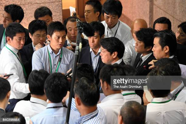 Defense Minister Itsunori Onodera speaks to media reporters after North Korea's missile launch at Defense Ministry on August 29 2017 in Tokyo Japan...