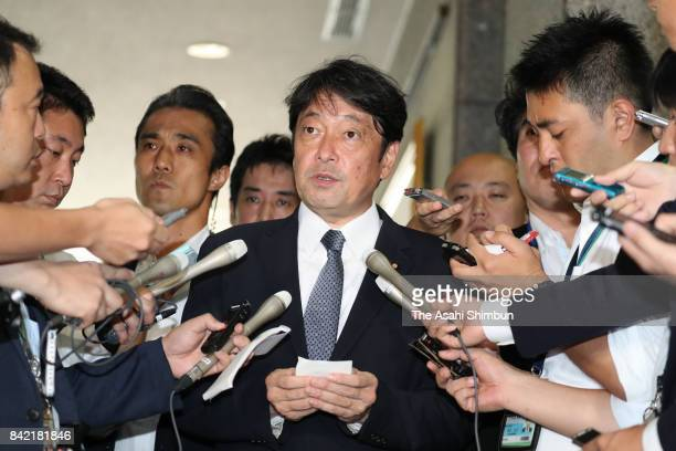 Defense Minister Itsunori Onodera speaks to media reporters after North Korea's nuclear test at the Defense Ministry on September 3 2017 in Tokyo...