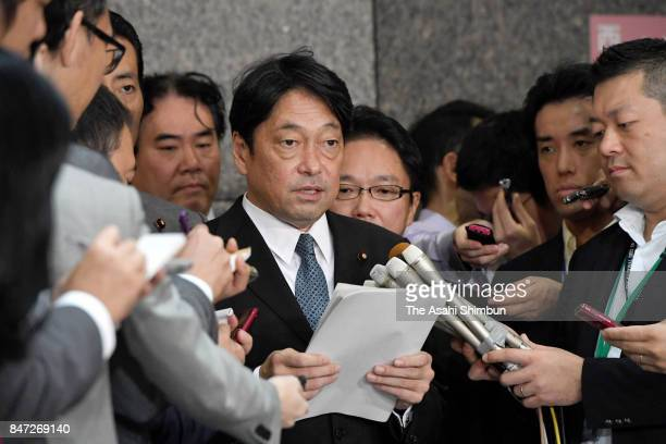 Defense Minister Itsunori Onodera speaks to media reporters after North Korea's latest ballistic missile launch at the Defense Ministry on September...