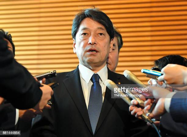 Defense Minister Itsunori Onodera speaks to media reporters after North Korea's missile launch at the prime minister's official residence on November...