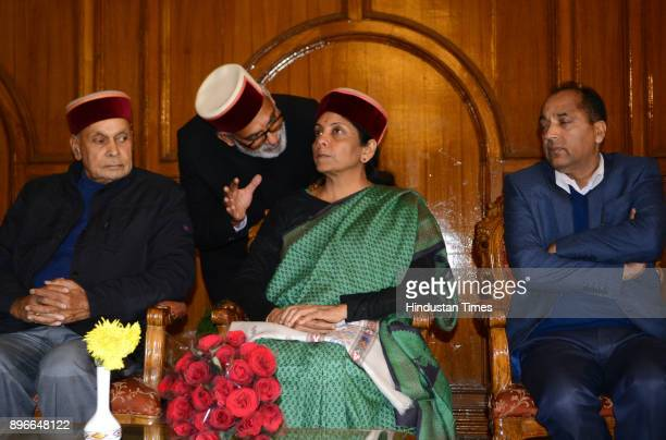Defense Minister Nirmala Sitharaman former chief minister Prem Kumar Dhumal and BJP leader Chander Mohan Thakur talking with each other while the...