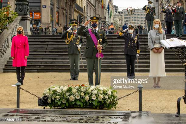 Defense Minister of Belgium Ludivine Dedonder, King Philippe of Belgium and Interior Minister of Belgium Annelies Verlinden attend Armistice Day at...