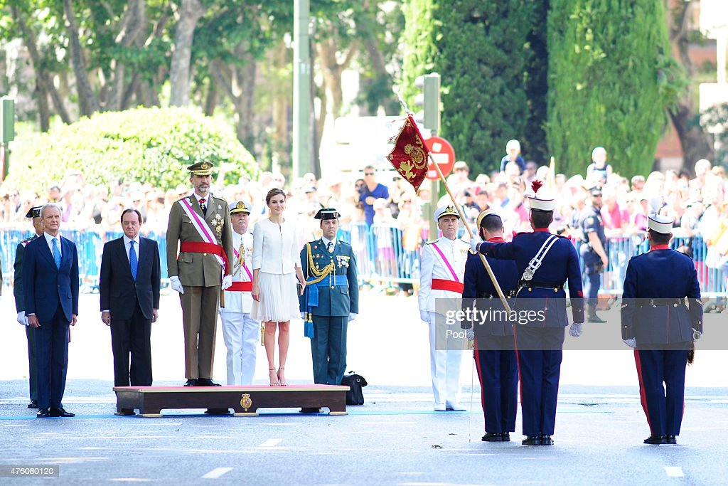 Defense Minister Pedro Morenes, King Felipe VI of Spain and Queen Letizia of Spain attend the 2015 Armed Forces Day at Plaza de la Lealtad on June 6, 2015 in Madrid, Spain.