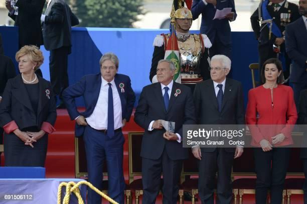 Defense Minister Roberta Pinotti, Prime Minister Paolo Gentiloni, President of Senate Pietro Grasso, President of the Republic Sergio Mattarella and...