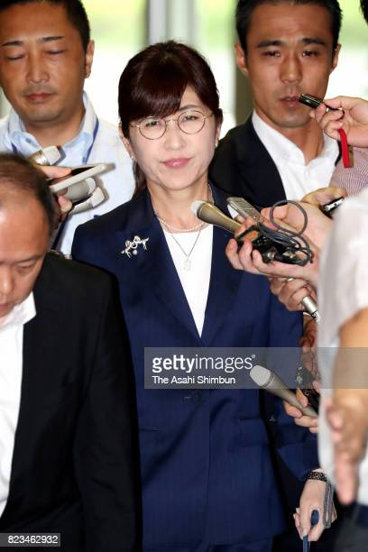 Defense Minister Tomomi Inada is is seen on arrival at the Defense Ministry on July 27 2017 in Tokyo Japan Inada has been caught up in the increasing...