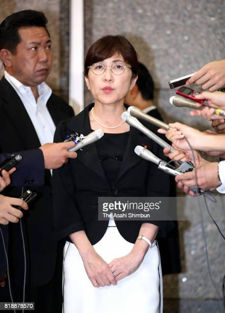 Defense Minister Tomomi Inada responds to questions on departure at the Defense Ministry on July 19 2017 in Tokyo Japan The main opposition party...