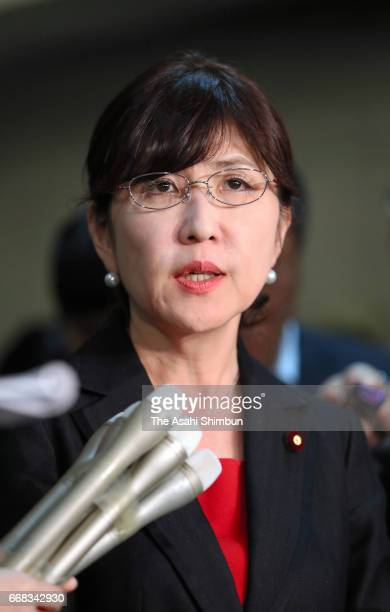 Defense Minister Tomomi Inada speaks to media reporters on the government decision to withdraw Ground SelfDefense Force members from their UN...