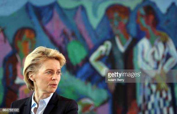 Defense Minister Ursula von der Leyen arrives for the weekly German federal Cabinet meeting on April 5 2017 in Berlin Germany High on the meeting's...