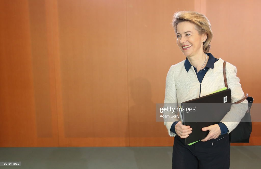 Defense Minister Ursula von der Leyen (CDU) arrives for the weekly German federal Cabinet meeting on February 21, 2018 in Berlin, Germany. High on the meeting's agenda was discussion of legislation of volume levels of outdoor screenings of upcoming World Cup matches.