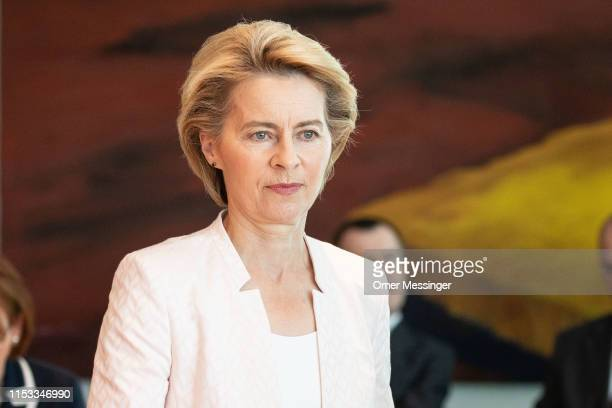 Defense Minister Ursula von der Leyen attends the weekly German federal Cabinet meeting on July 3 2019 in Berlin Germany The Federal Cabinet on its...