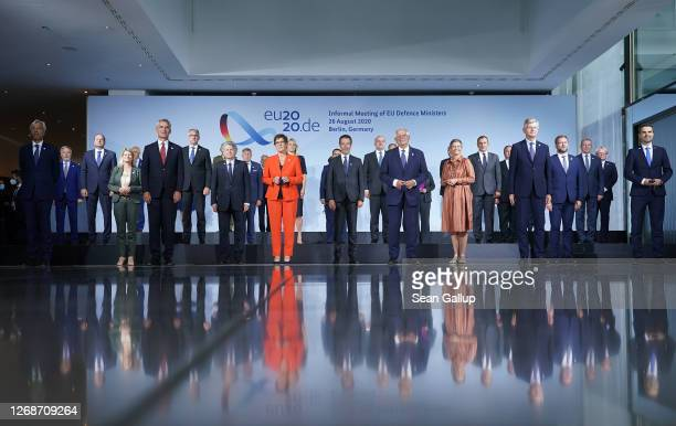Defense ministers of European Union member states and other participants pose for a group photo during a meeting on August 26 2020 in Berlin Germany...