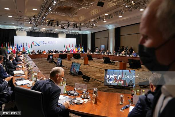 Defense ministers of European Union member states meet on August 26 2020 in Berlin Germany The meeting which is taking place as part of Germany's...