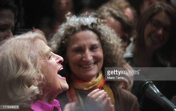 """Defense of Marriage Act plaintiff Edith """"Edie"""" Windsor celebrates with supporters in Manhattan following the U.S. Supreme Court ruling on DOMA on..."""