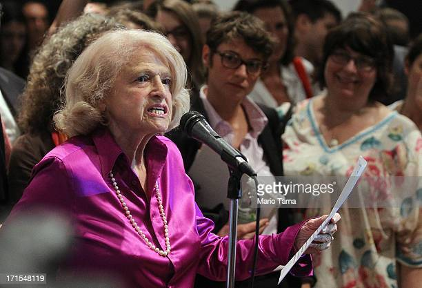 """Defense of Marriage Act plaintiff Edith """"Edie"""" Windsor speaks to supporters in Manhattan following the U.S. Supreme Court ruling on DOMA on June 26,..."""