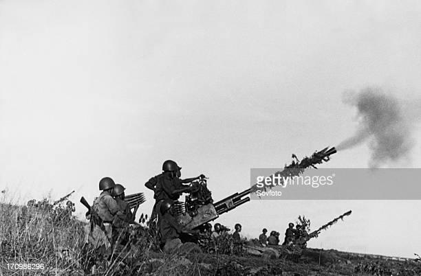 Defense of the ham zhong bridge a north vietnamese antiaircraft artillery emplacement fighting off an american air attack 1966