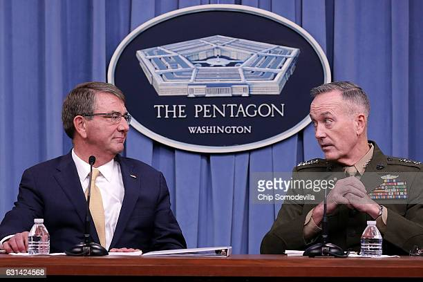 S Defense Secretary Ash Carter and Chairman of the Joint Chiefs of Staff Marine Gen Joseph Dunford Jr hold a news conference at the Pentagon January...