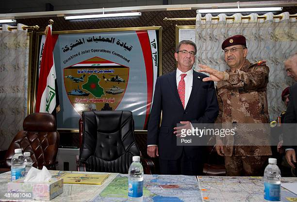 S Defense Secretary Ash Carter and Gen Taleb Shegati AlKenani commander of Iraqi counterterrorism forces meet at the Combined Joint Operations Center...