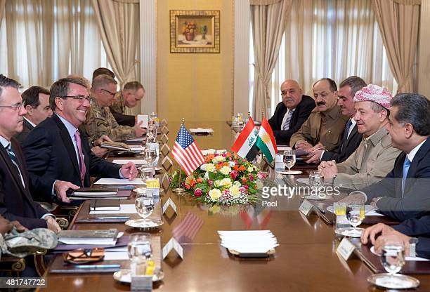 S Defense Secretary Ash Carter and Iraqi Kurdistan Regional President Massoud Barzani sit for a meeting at the White House on July 24 2015 in Irbil...