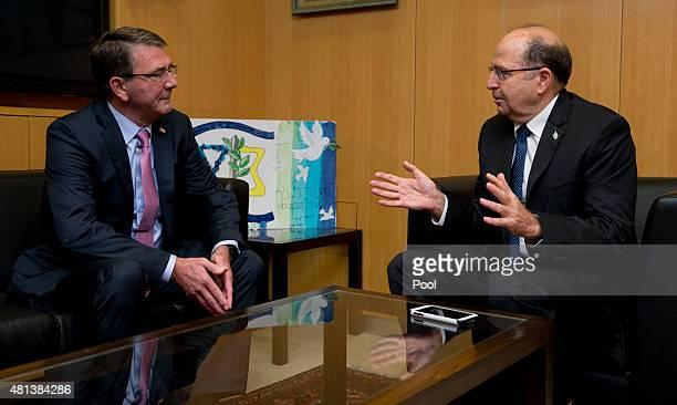 S Defense Secretary Ash Carter and Israeli Defense Minister Moshe Ya'alon meet at Israel's Defense Force headquarters July 20 2015 in Tel Aviv Israel...