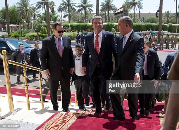 S Defense Secretary Ash Carter and US Ambassador to Iraq Stuart Jones are escorted by Iraqi Defense Minister Khalid alObeidi as Carter arrives at the...