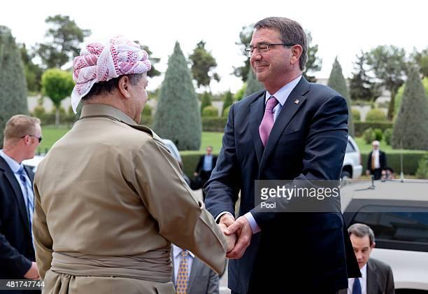 S Defense Secretary Ash Carter is greeted by Iraqi Kurdistan Regional President Massoud Barzani at the White House on July 24 2015 in Irbil Iraq...