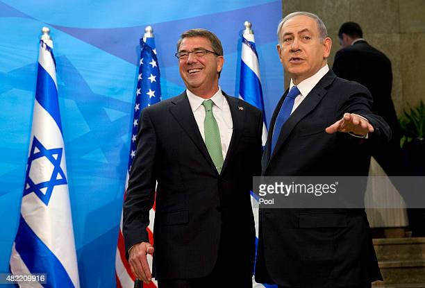 S Defense Secretary Ash Carter is greeted by Israeli Prime Minister Benjamin Netanyahu as he arrives at the prime minister's office in Jerusalem...