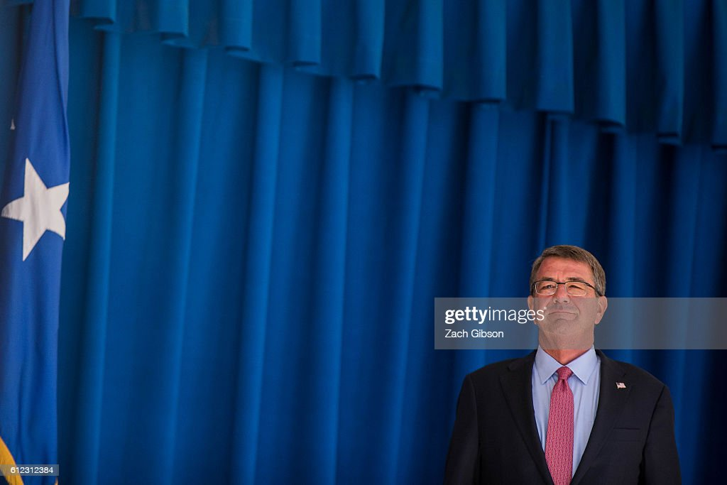 U.S. Defense Secretary Ash Carter is pictured during a ceremony honoring 2016 active duty military Olympians and Paralympians at The Pentagon on October 3, 2016 in Arlington, Virginia. The ceremony hosted 20 members of the U.S. military who competed in the 2016 games.