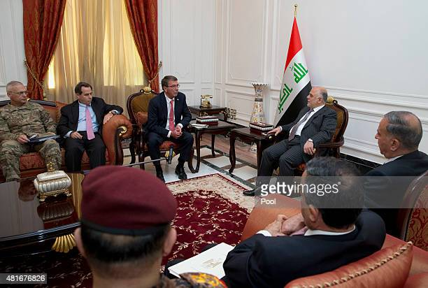 S Defense Secretary Ash Carter joined by US Ambassador to Iraq Stu Jones and Army Lt Gen James Terry meets with Iraqi Prime Minister Haider alAbadi...