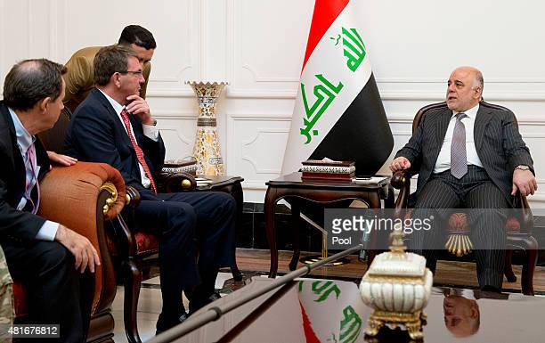 S Defense Secretary Ash Carter joined by US Ambassador to Iraq Stu Jones meets with Iraqi Prime Minister Haider alAbadi in the Prime Minister's...