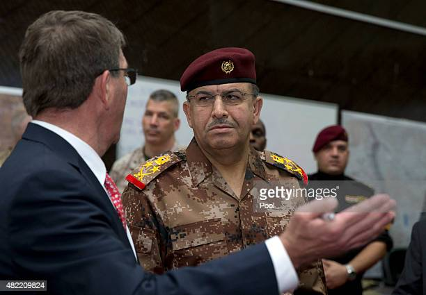 S Defense Secretary Ash Carter left and Gen Taleb Shegati AlKenani commander of the Counter Terrorism forces meet at the Combined Joint Operations...
