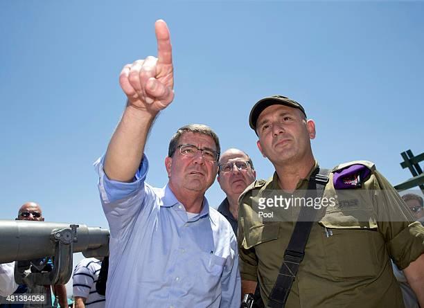 S Defense Secretary Ash Carter left Israeli Defense Minister Moshe Ya'alon center and Israel Defense Forces 91st Division Commander Moni Katz right...