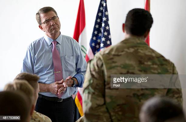 S Defense Secretary Ash Carter listens to a question as he talks to multinational troops at the Irbil International Airport on July 24 2015 in Irbil...