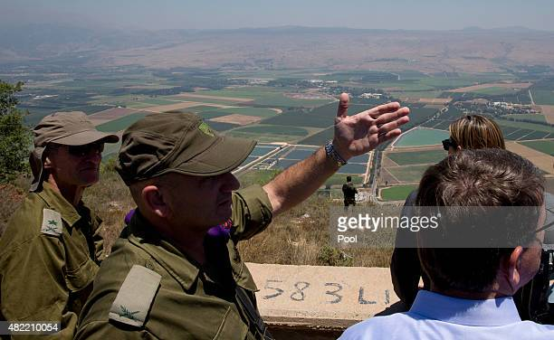 S Defense Secretary Ash Carter lower right talks with Israel Defense Forces 91st Division Commander Moni Katz center and Deputy Chief of Staff Maj...