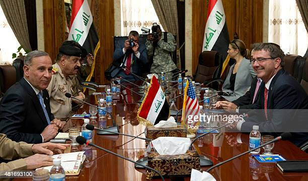 S Defense Secretary Ash Carter meets with Iraqi Defense Minister Khalid alObeidi at the Ministry of Defense July 23 2015 in Baghdad Iraq Carter is on...